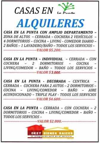 Casas!!! alquileres en Ciudad de La Punta